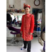 áo dai cách tan nam màu đỏ