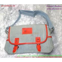 Túi đeo đi học đi chơi vải jean phối khóa gài bụi TDHDC23