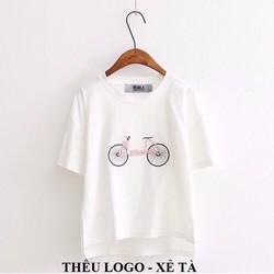 áo in xe đạp THÊU nổi đẹp nhé trắng