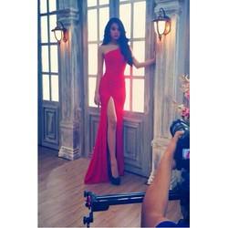 Đầm dạ hội dài đơn giản xẻ đùi cao siêu quyến rũ cho nàng DV410