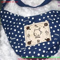 Túi đeo đi học đi chơi chấm bi hình gấu đáng iu TDHDC43