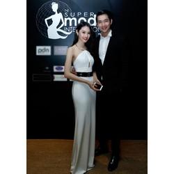 Đầm yếm dạ hội dài cổ kiềng kim loại Linh Chi quyến rũ DV90