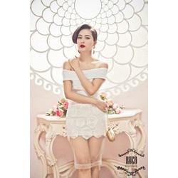 Đầm bẹt vai trắng phối ren