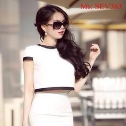Sét áo kiểu tay con và chân váy bút chì phối viền đen cá tính SEV383