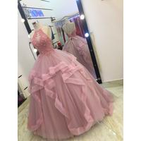 áo cưới vien voan  hồng ruốt