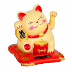 Mèo thần tài may mắn vẫn tay năng lượng mặt trời màu vàng size nhỏ