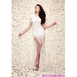 Đầm dạ hội dài ren cô dâu dạ tiệc tay con váy xẻ cao quyến rũ DDH22