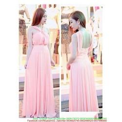 Đầm dạ hội dài chất voan cổ yếm màu hồng nhạt xinh xắn dễ thương DDH23