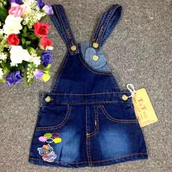 Váy yếm jean thêu hình Kitty cho bé gái