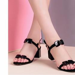 Giày Sandal Đính Nơ Siri Màu Đen Siêu xinh-MD2378