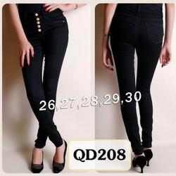 Quần jean đen lưng cao 5 nút QD208
