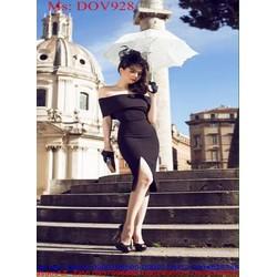 Đầm ôm bẹt vai sành điệu xẻ đùi quyến rũ phong cách DOV928