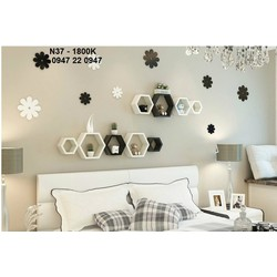 Kệ gỗ trang trí phòng ngủ hình lục giác N37