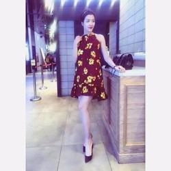 HÀNG CAO CẤP LOẠI I - Đầm suông hoa sát nách cổ yếm