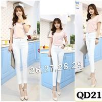 Quần jean trắng lưng cao 1 nút QD210