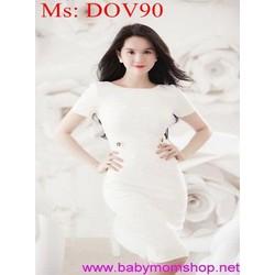 Đầm body trắng thiết kế đơn giản đính nút sành điệu DOV90