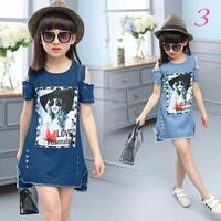 Đầm jean rách bụi in hình cô gái  NX556