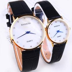Đồng hồ đôi Baishuns dây da đen
