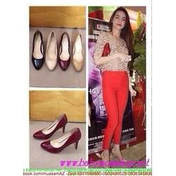 Giày cao gót nữ mũi tròn da bóng sành điệu GCN265