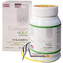 Viên uống bổ sung Collagen +AEC 12000mg Ahlozen 180 viên của Mỹ