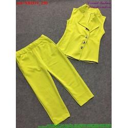 View  Set áo sát nách cổ vest phối quần lửng sành điệu bSRD19