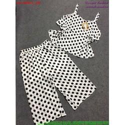 Set áo 2 dây nhún bèo họa tiết phối quần lửng dễ thương bSRD21