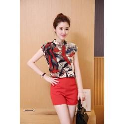 Set short áo cổ lọ phối màu và quần short S,M, L,XL,2XL - RMS01070