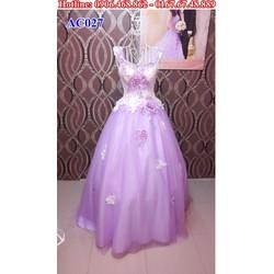 Áo cưới cổ V màu tím AC027