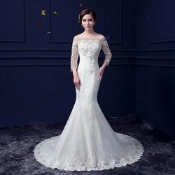 Váy cưới đuôi cá trắng ren - M460