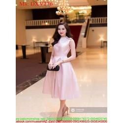 Đầm xòe dự tiệc vai đính nơ xinh đẹp vải phi bóng sang trọng DXV276