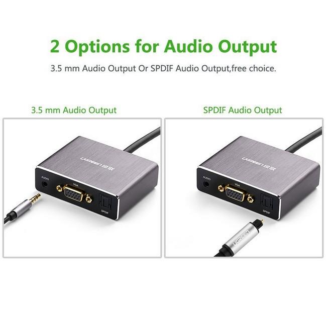 Cáp HDMI to VGA + Audio hỗ trợ cổng Quang chính hãng Ugreen 40282 3