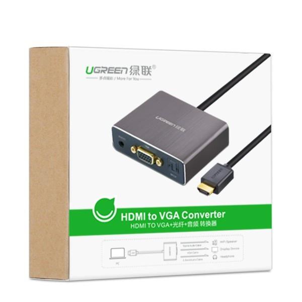 Cáp HDMI to VGA + Audio hỗ trợ cổng Quang chính hãng Ugreen 40282 4