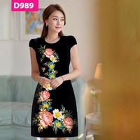 Đầm đẹp in hoa 3D