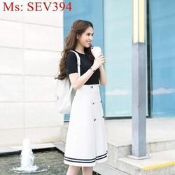 Sét áo tay con màu đen và chân váy xòe dài đính nút xinh đẹp SEV394