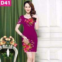 Đầm in hoa 3D