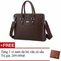 Túi xách công sở đựng laptop da bò thật cao cấp + Tặng 1 ví nam da bò