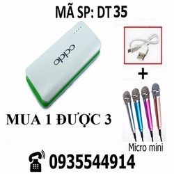 Combo Pin sạc dự phòng Oppo + dây cáp + Micro mini DT35