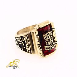 Nhẫn inox nam kiểu sư tử đá đỏ màu vàng