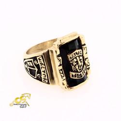 Nhẫn inox nam sư tử đá đen màu vàng