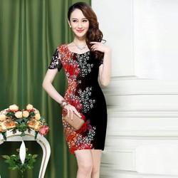 Đầm 3d hoa hồng chấm bi