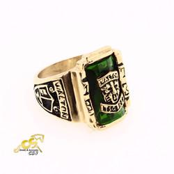 Nhẫn inox nam kiểu sư tử đá xanh lá cây màu vàng