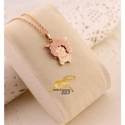 Dây chuyền titanium con cừu phun cát baby màu vàng hồng
