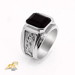 Nhẫn inox nam rồng đá đen mẫu N537