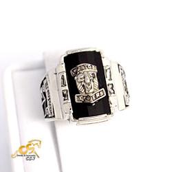 Nhẫn nam inox trắng mặt sư tử đá đen mẫu N501