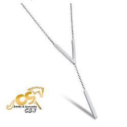 Dây chuyền titanium màu trắng thời trang cao cấp chữ V đẹp giá rẻ