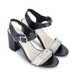 Giày Sandals Cao Gót Vân Da Rắn 668 Mirabella Đen