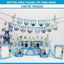 Bộ phụ kiện trang trí sinh nhật chủ đề Frozen công chúa ELsa và Anna