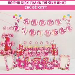 Bộ phụ kiện trang trí sinh nhật chủ đề Kitty hồng