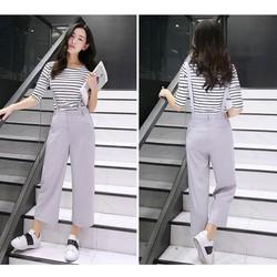 Sét quần thắt đai + áo thun sọc - GS139