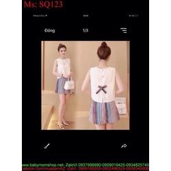 Sét áo kiểu sát nách đính nơ sau và quần short màu SQ123